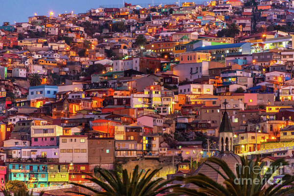 Wall Art - Photograph - Valparaiso At Night by Delphimages Photo Creations