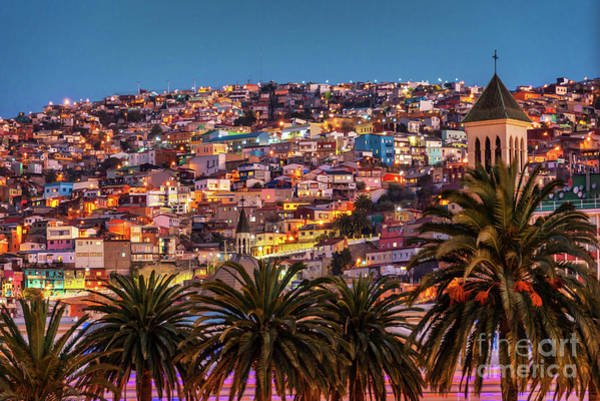 Wall Art - Photograph - Valparaiso Illuminated At Night by Delphimages Photo Creations