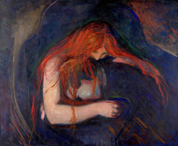 Wall Art - Painting - Vampire, 1895 by Edvard Munch