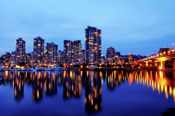 False Creek Wall Art - Photograph - Vancouver At Night by Nattapol Pornsalnuwat
