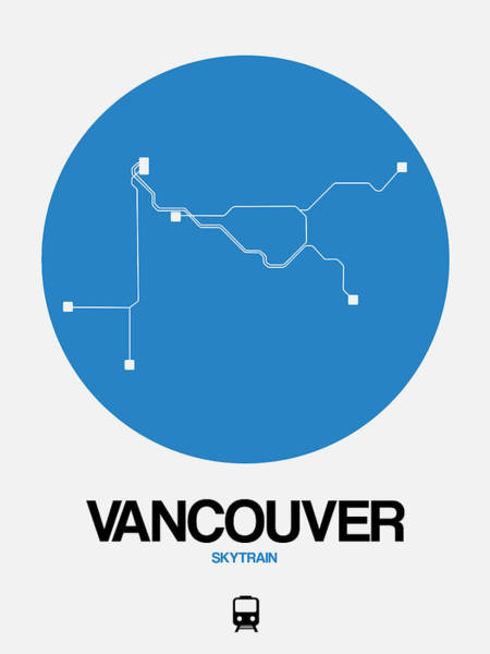 Wall Art - Digital Art - Vancouver Blue Subway Map by Naxart Studio