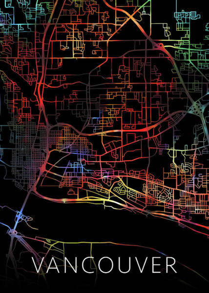 Wall Art - Mixed Media - Vancouver British Columbia Canada Watercolor City Street Map Dark Mode by Design Turnpike