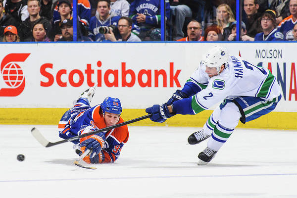 National Hockey League Photograph - Vancouver Canucks V Edmonton Oilers by Derek Leung
