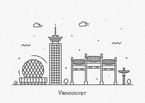 Drawing - Vancouver Cityscape Travel Poster by Inspirowl Design