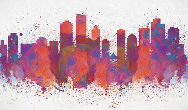 Wall Art - Painting - Vancouver Colorful Skyline by Dan Sproul