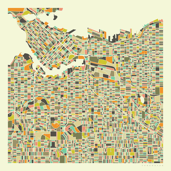 Vancouver Wall Art - Digital Art - Vancouver Map 1 by Jazzberry Blue