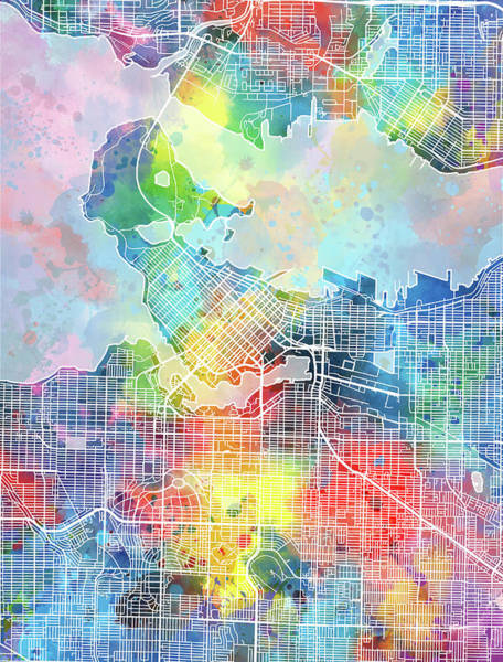 Wall Art - Digital Art - Vancouver Map Watercolor by Bekim M