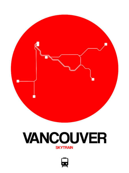 Wall Art - Digital Art - Vancouver Red Subway Map by Naxart Studio