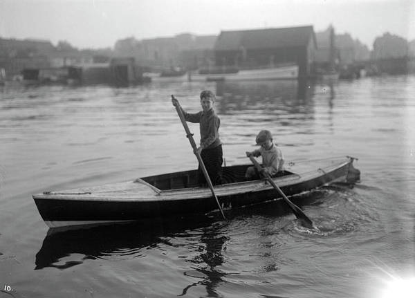 Painting - Vancouver Rowing Club Regatta, Coal Harbour 2 Boys In Boat 1924 by Celestial Images