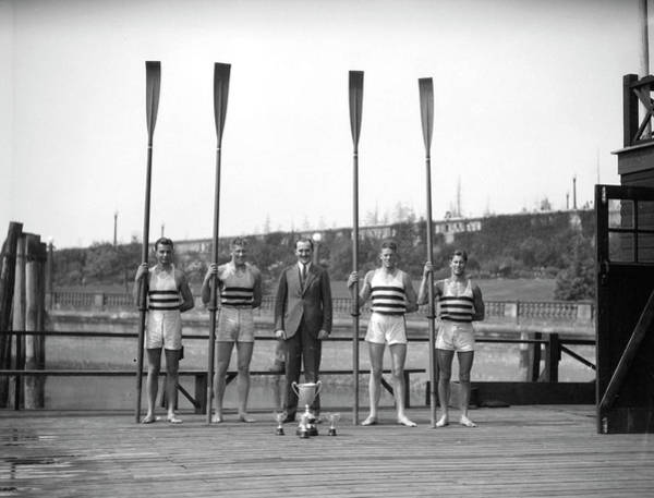 Painting - Vancouver Rowing Club  Winning Four - Kelowna Regatta 2 by Celestial Images