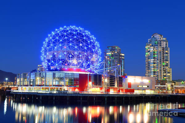 Landmark Wall Art - Photograph - Vancouver Science World At Night by Wangkun Jia