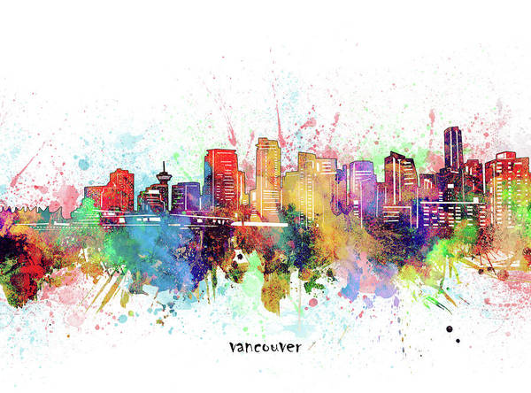 Wall Art - Digital Art - Vancouver Skyline Artistic by Bekim M
