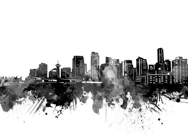 Wall Art - Digital Art - Vancouver Skyline Bw by Bekim M
