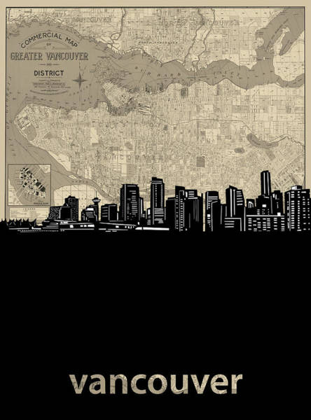 Wall Art - Digital Art - Vancouver Skyline Map by Bekim M