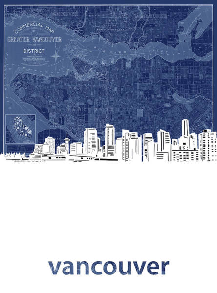 Wall Art - Digital Art - Vancouver Skyline Map Blue by Bekim M