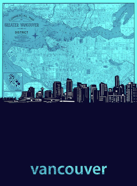 Wall Art - Digital Art - Vancouver Skyline Map Turquoise by Bekim M