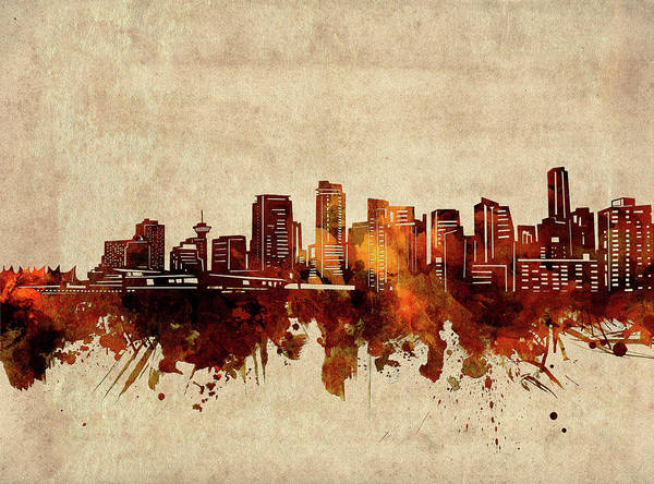 Wall Art - Digital Art - Vancouver Skyline Sepia by Bekim M