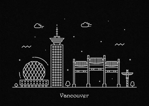Wall Art - Digital Art - Vancouver Skyline Travel Poster by Inspirowl Design