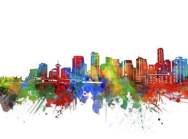 Wall Art - Digital Art - Vancouver Skyline Watercolor 2 by Bekim M