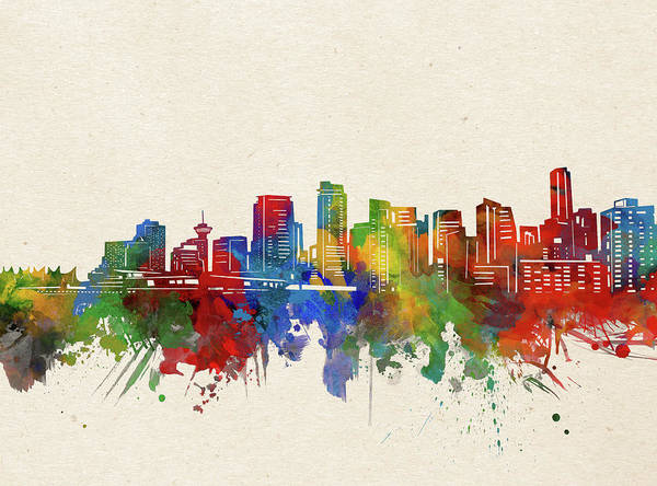 Wall Art - Digital Art - Vancouver Skyline Watercolor by Bekim M