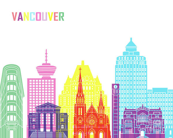 Wall Art - Painting - Vancouver V2 Skyline Pop  by Pablo Romero