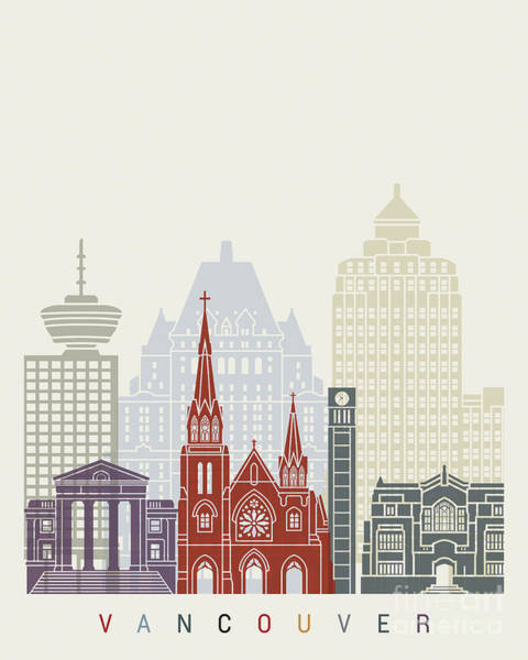 Wall Art - Painting - Vancouver V2 Skyline Poster by Pablo Romero