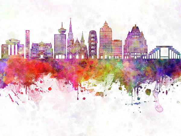 Wall Art - Painting - Vancouver V2 Skyline Watercolor Backgropund by Pablo Romero