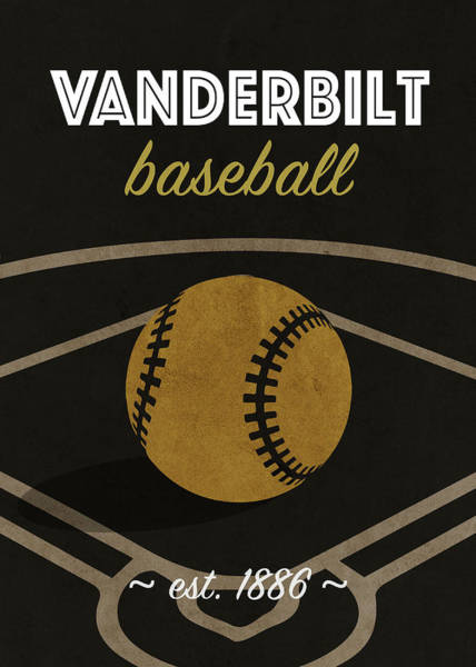 Wall Art - Mixed Media - Vanderbilt Baseball College Sports Team Retro Vintage Poster Series by Design Turnpike