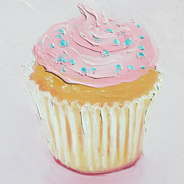 Icing Painting - Vanilla Cupcake With Frosting by Jan Matson