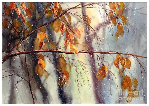 Birches Painting - Vanishing by Suzann's Art