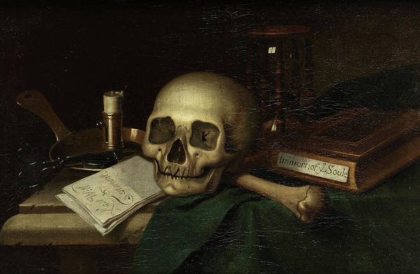Wall Art - Painting - Vanitas Still Life With Skull And Candle by English school