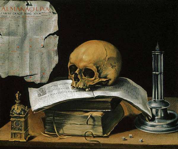 Wall Art - Painting - Vanitas Still Life With Skull by Sebastian Stoskopff