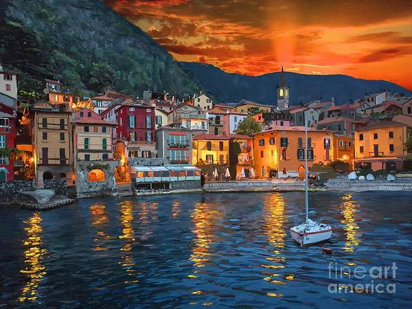 Andrew Jackson Wall Art - Painting - Varenna Italy At Dawn by Andrew Jackson