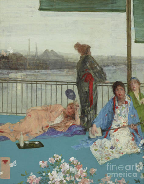 Wall Art - Painting - Variations In Flesh Color And Green, The Balcony by James Abbott McNeill Whistler
