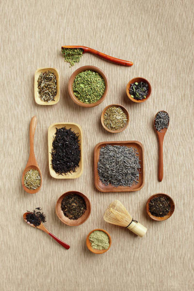 Tea Photograph - Variety Of Loose Black And Green Teas by Perch Images