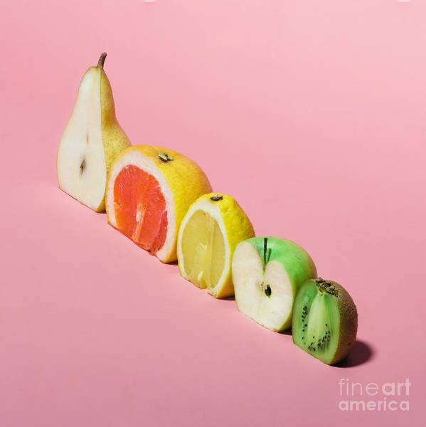 Wall Art - Photograph - Various Fruits Sliced In Half. Minimal by Zamurovic Photography
