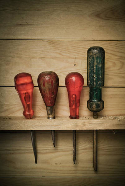 Workshop Photograph - Various Screwdrivers In Wooden Rack by Johner Images