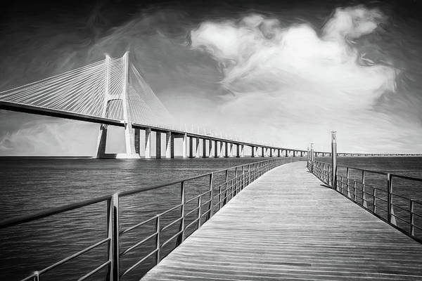 Wall Art - Photograph - Vasco Da Gama Bridge Lisbon Portugal Black And White  by Carol Japp