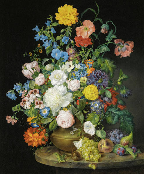 Wall Art - Painting - Vase Of Camellias, Geraniums, Dahlias, A White Peony, Roses, Poppies And Other Flowers, With Fruit O by Franz Xaver Petter