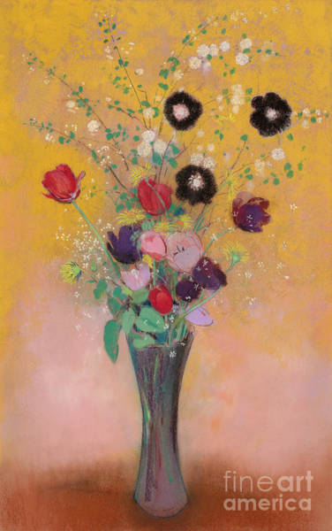Wall Art - Pastel - Vase Of Flowers, 1916, Pastel by Odilon Redon