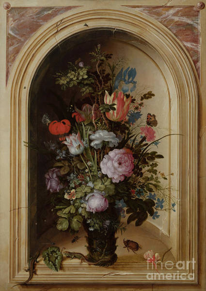 Wall Art - Painting - Vase Of Flowers In A Stone Niche, 1615 by Roelandt Jacobsz Savery
