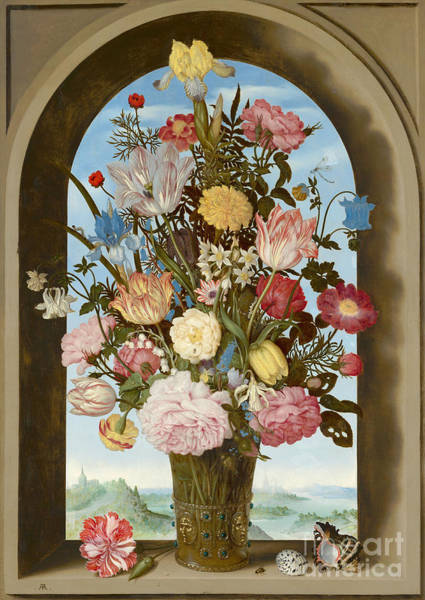 Dutch Tulip Painting - Vase Of Flowers In A Window Circa 1618 by Ambrosius the Elder Bosschaert