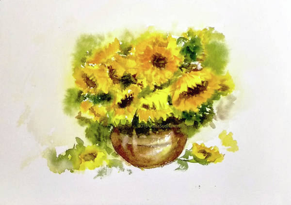 Wall Art - Painting - Vase Of Sunflowers by Asha Sudhaker Shenoy