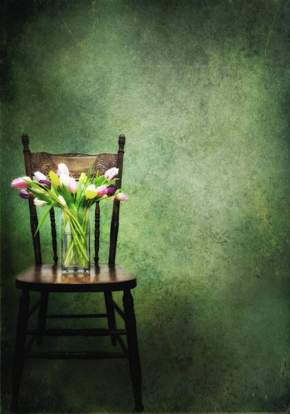 Vase Of Flowers Photograph - Vase Of Tulips On Old Chair by Marlene Ford