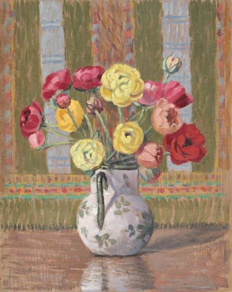 Wall Art - Painting - Vase With Buttercups By Ernest Moulines 1870-1942 by Ernest Moulines