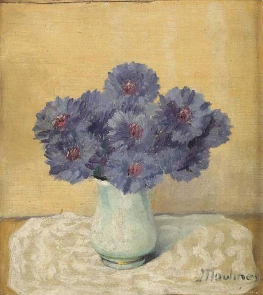 Wall Art - Painting - Vase With Cornflowers By Ernest Moulines 1870-1942 by Ernest Moulines