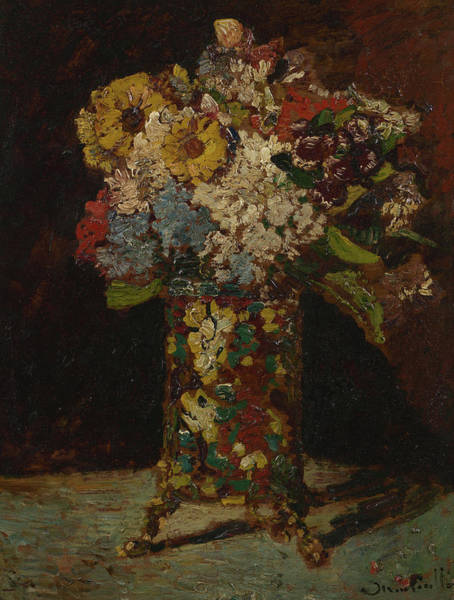 Wall Art - Painting - Vase With Flowers by Adolphe Monticelli