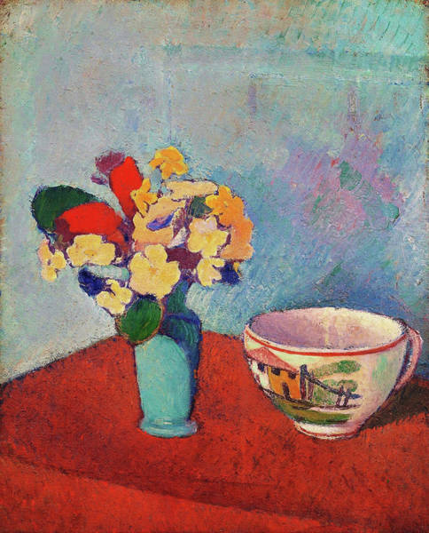 Wall Art - Painting - Vase With Flowers And Cup - Digital Remastered Edition by Emile Bernard