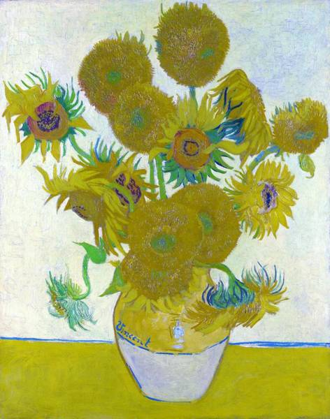 Wall Art - Painting - Vase With Fourteen Sunflowers - Original White by Vincent van Gogh