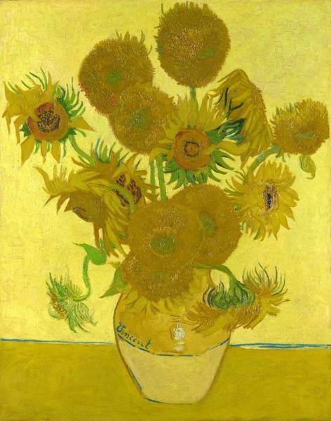 Wall Art - Painting - Vase With Fourteen Sunflowers - Original Yellow by Vincent van Gogh